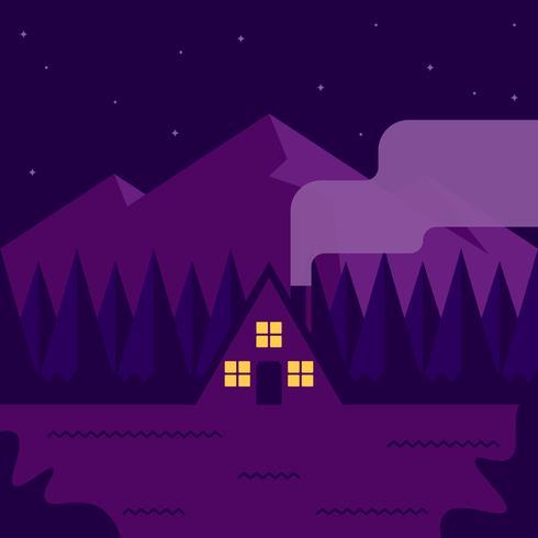 Casa nas montanhas de madeiras no fundo ilustração vetor