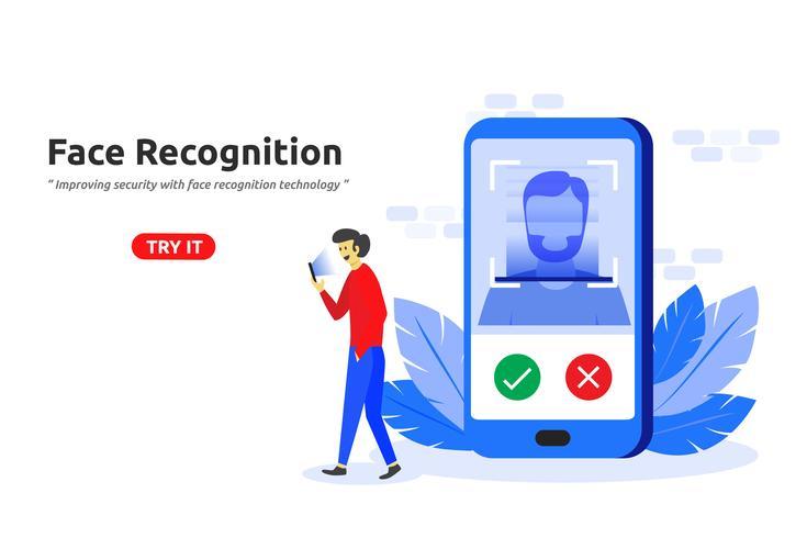 Conceito de tecnologia de reconhecimento de rosto design plano moderno vetor