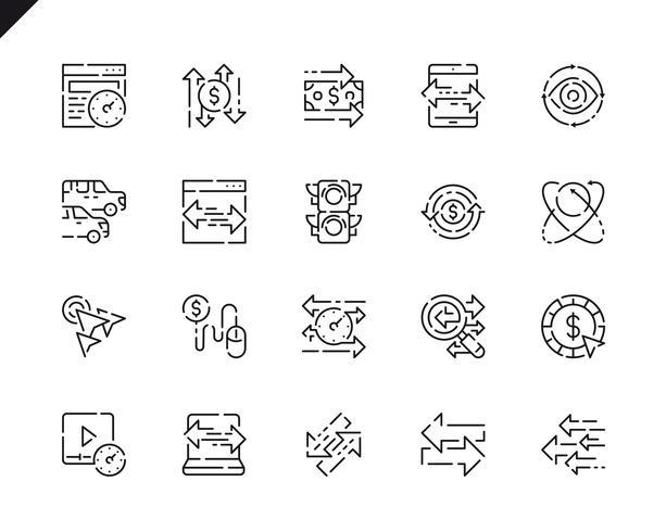Conjunto simples ícones de linha de tráfego para o site e aplicativos móveis. vetor
