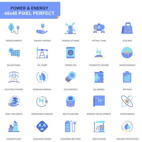 Conjunto simples indústria de energia e energia plana ícones para site e aplicativos móveis vetor
