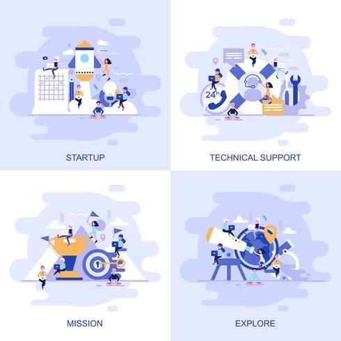 Bandeira de web moderno conceito plana de suporte técnico, missão, explorar e inicialização com caráter de pessoas pequenas decorados. vetor