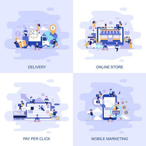 Bandeira lisa moderna da Web do conceito da loja em linha, do pagamento pelo clique, do mercado móvel e da entrega com caráter pequeno decorado dos povos. vetor