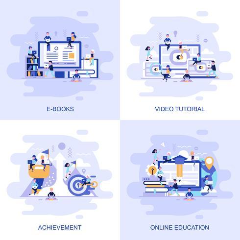 Bandeira de web moderna plana conceito de vídeo tutorial, realização, educação on-line e livros de E com caráter de pessoas pequenas decorados. vetor