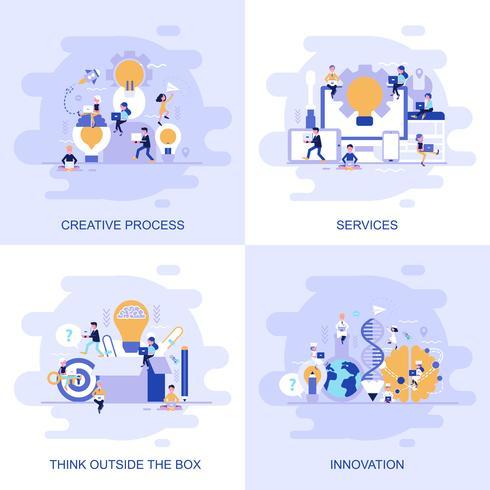 A bandeira lisa moderna da Web do conceito dos serviços, pensa fora da caixa, a inovação e o processo criativo com caráter pequeno decorado dos povos. vetor