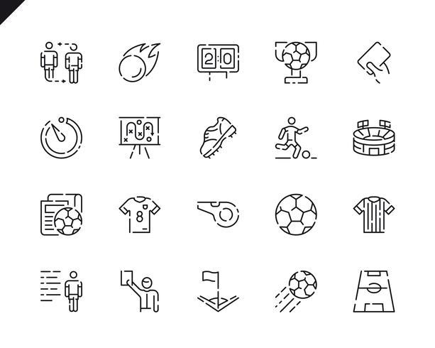 Simples conjunto de ícones de linha de futebol para o site e aplicativos móveis. vetor