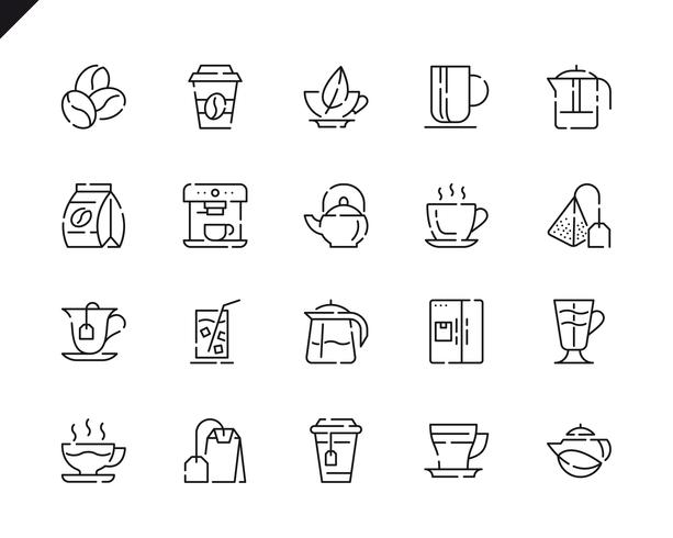 Conjunto simples de café e chá linha ícones para o site e aplicativos móveis. vetor