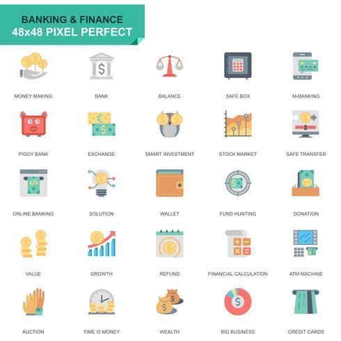 Conjunto simples, bancário e Finanças ícones planos para site e aplicativos móveis vetor