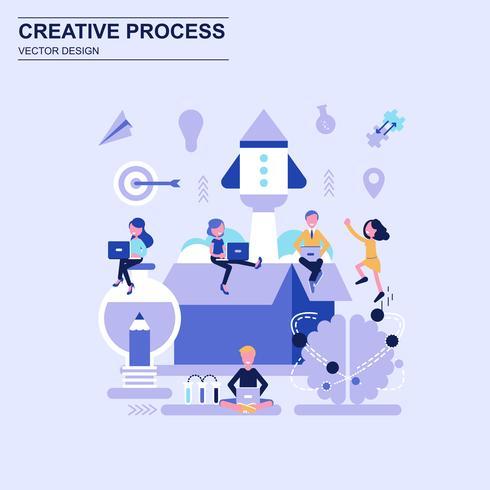 Estilo azul do conceito de projeto liso criativo do processo com caráter pequeno decorado dos povos. vetor