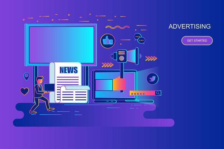 Linha de gradiente moderno web conceito de banner da web de publicidade e promo com caráter de pessoas pequenas decorados. Modelo de página de destino. vetor