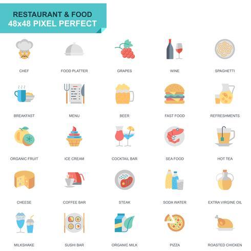 Restaurante simples conjunto e ícones de comida plana para o site e aplicativos móveis vetor