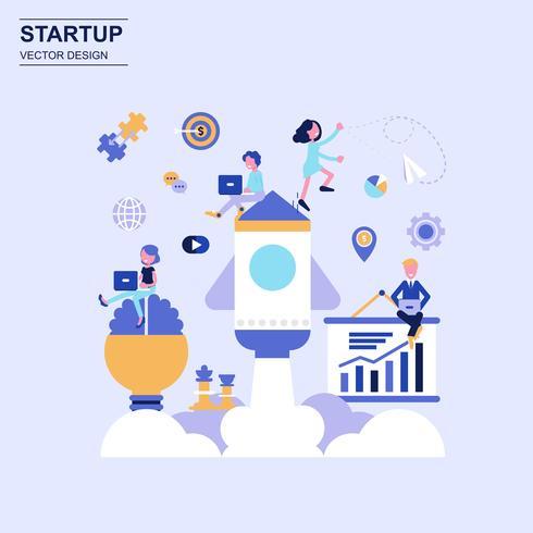 Estilo azul do conceito de projeto liso Startup com caráter pequeno decorado dos povos. vetor