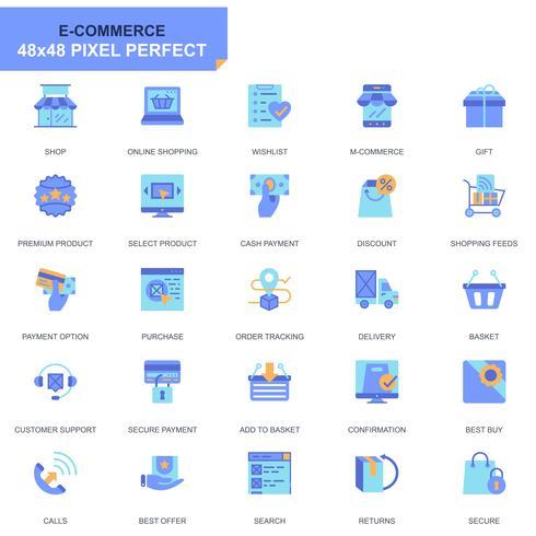 Conjunto simples de comércio eletrônico e compras ícones planas para site e aplicativos móveis vetor