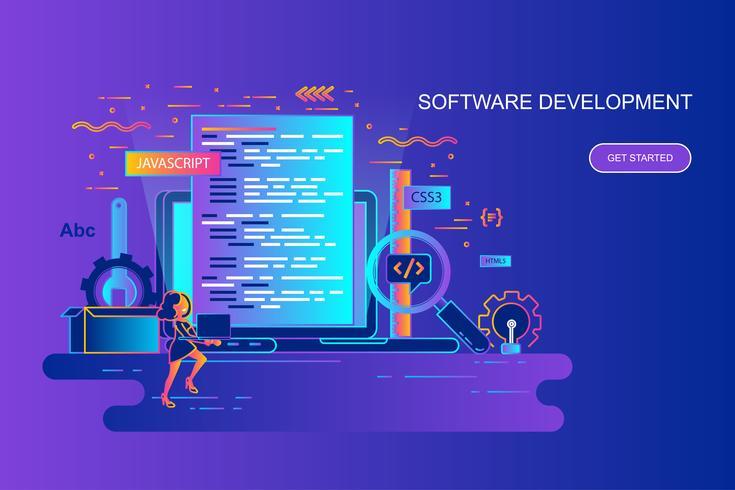 Linha de gradiente moderno bandeira web conceito de desenvolvimento de software com caráter de pessoas pequenas decorados. Modelo de página de destino. vetor