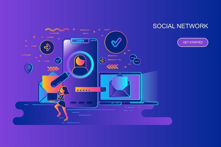 Linha de gradiente moderno conceito web banner da rede social com caráter de pessoas pequenas decorados. Modelo de página de destino. vetor