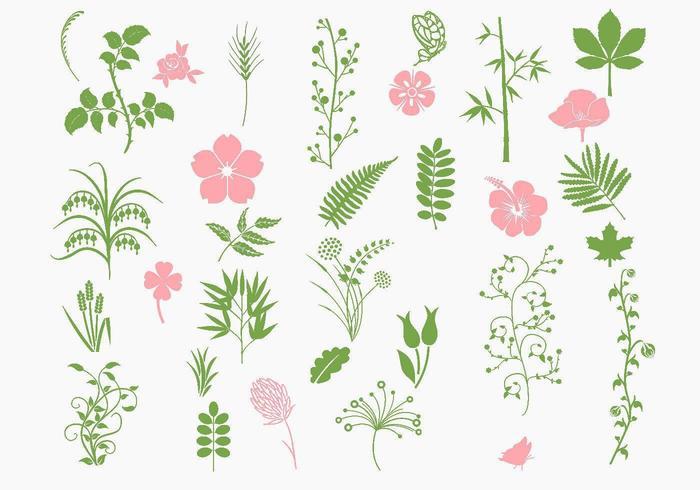 Pacote de vetores ecológicos rosa e verde
