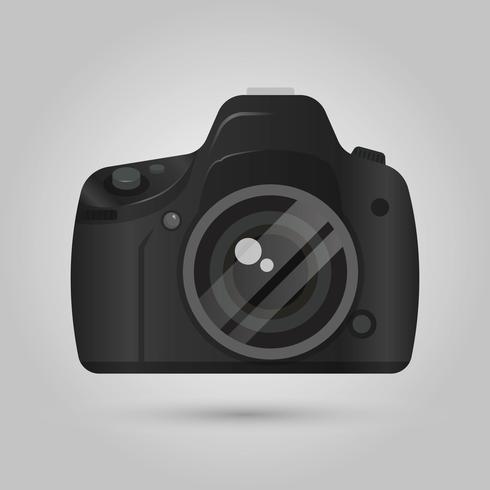 Vista frontal da câmera DSLR realista com ilustração em vetor fundo gradiente