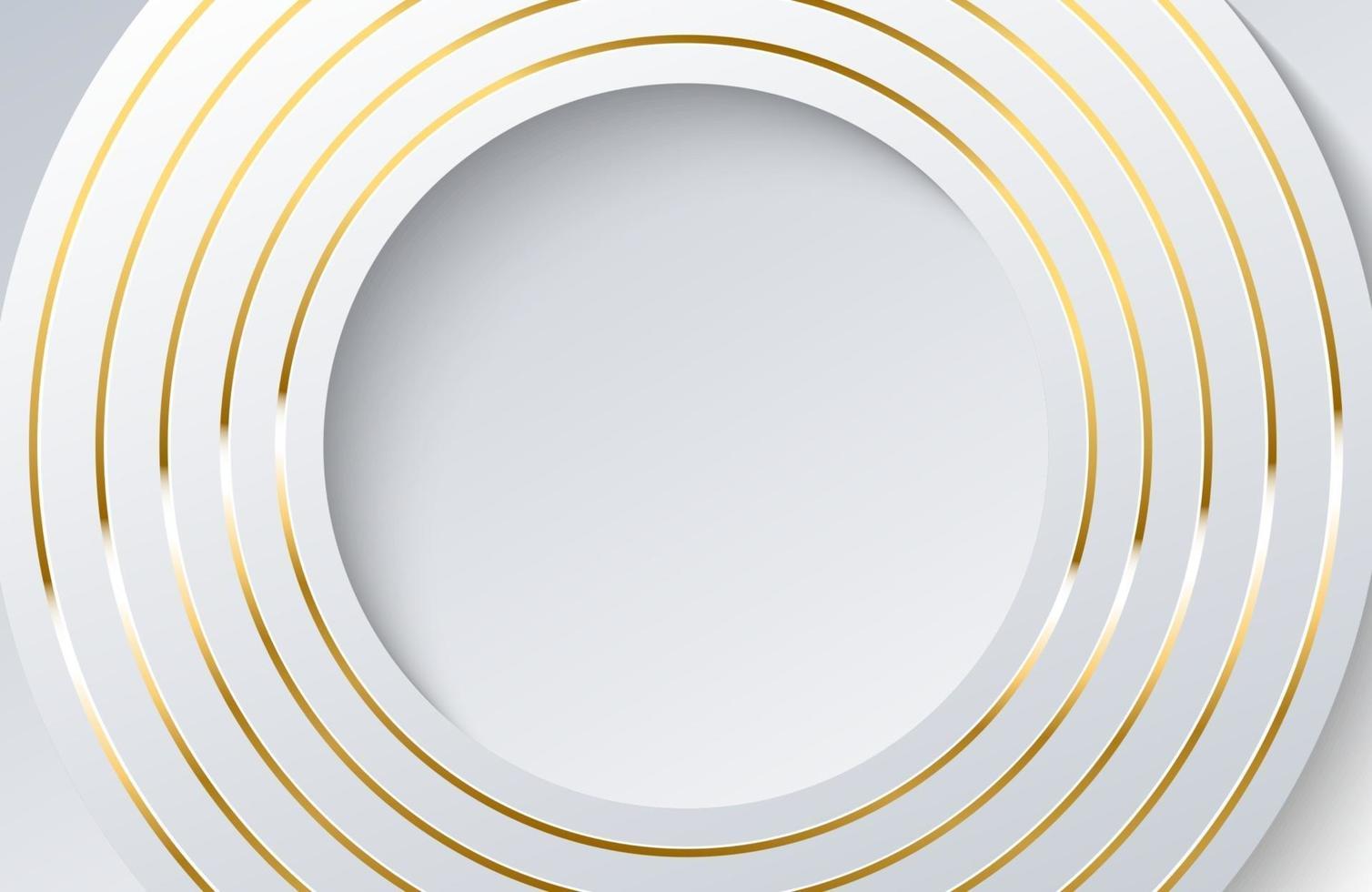 fundo branco moderno com elemento de círculo de ouro brilhante. elegante design de forma de círculo com vetor de linha dourada