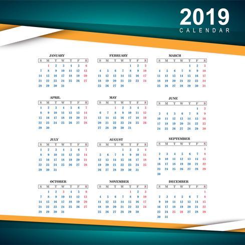 Belo modelo de calendário colorido de 2019 vetor