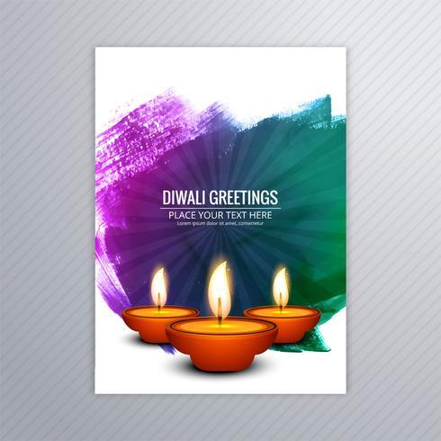 Design de modelo de cartão de diwali decorativo vetor