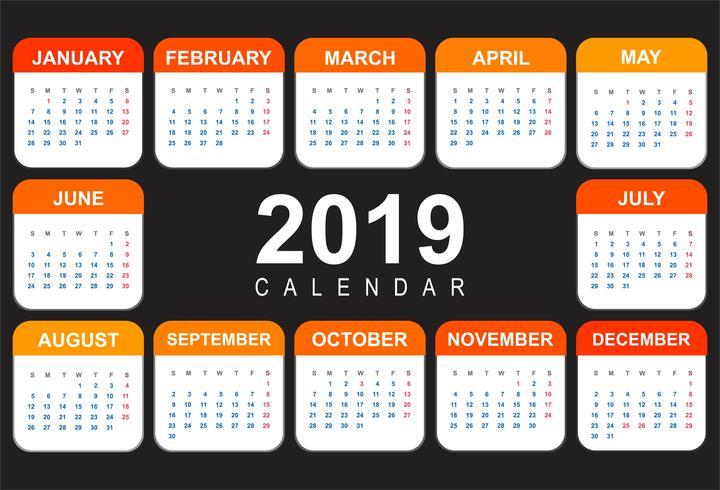 Design de modelo 2019 abstrato calendário colorido vetor