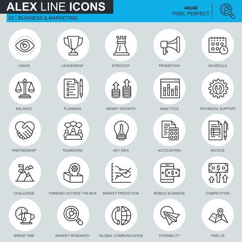 Linha fina de negócios e marketing conjunto de ícones para site, site móvel e apps. Contém ícones como Liderança, Visão e Contabilidade. 48x48 Pixel Perfeito. Curso editável. Ilustração vetorial. vetor