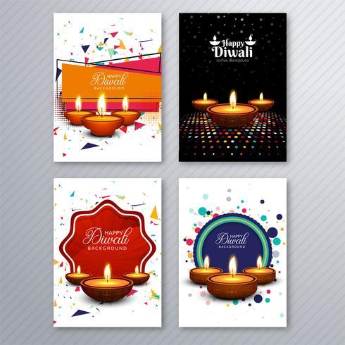 Feliz diwali colorido brochura modelo coleção vector