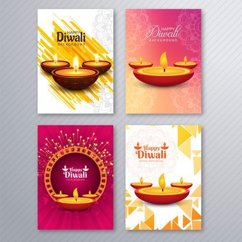Bela diwali cartão modelo brochura cenografia vetor