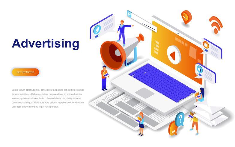 Publicidade e promo conceito isométrico moderno design plano. Conceito de propaganda e pessoas. Modelo de página de destino. vetor