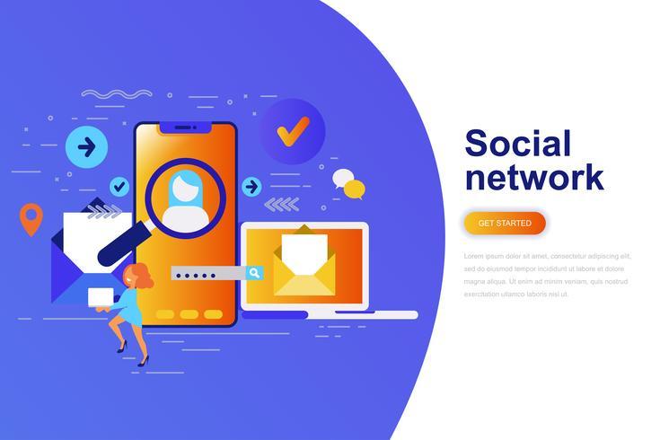 Bandeira de web de conceito moderno liso rede social com caráter de pessoas pequenas decorados. Modelo de página de destino. vetor