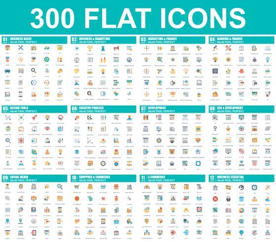 Conjunto simples de ícones plana de vetor. Contém ícones como Negócios, Marketing, Compras, Bancos, E-commerce, SEO, Tecnologia, Desenvolvimento, Finanças. 48x48 Pixel Perfeito. Pacote de pictograma plana. vetor