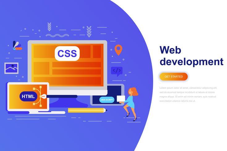 Bandeira da web do conceito moderno web plana de desenvolvimento com caráter de pessoas pequenas decorados. Modelo de página de destino. vetor
