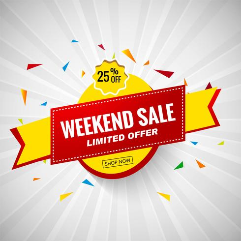 Projeto de banner colorido de venda de fim de semana vetor