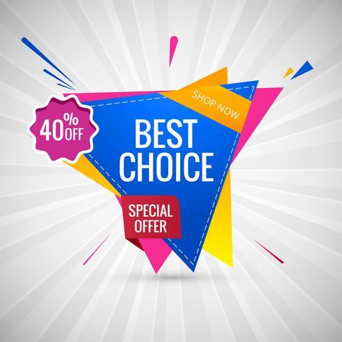 Melhor escolha venda banner colorido vector design