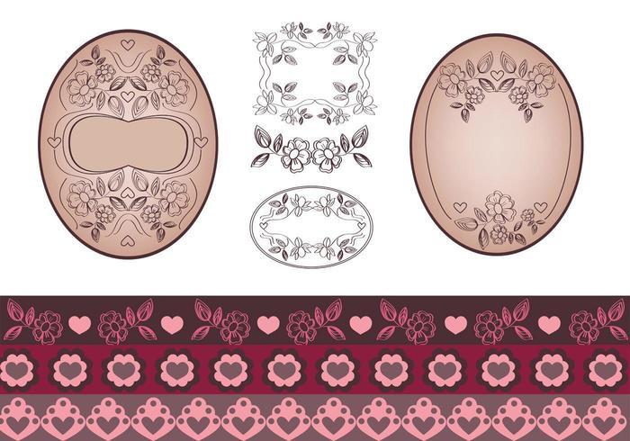 Pacote de vetores florais e etiqueta de bordas