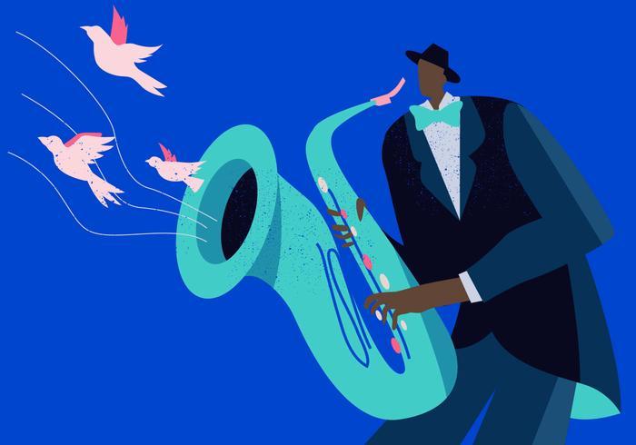 Saxaphone Player no plano de fundo Vector Jazz Concerto