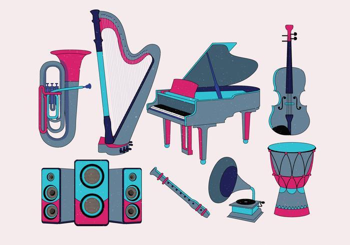 Instrumentos Musicais Knolling Vol 2 Vector