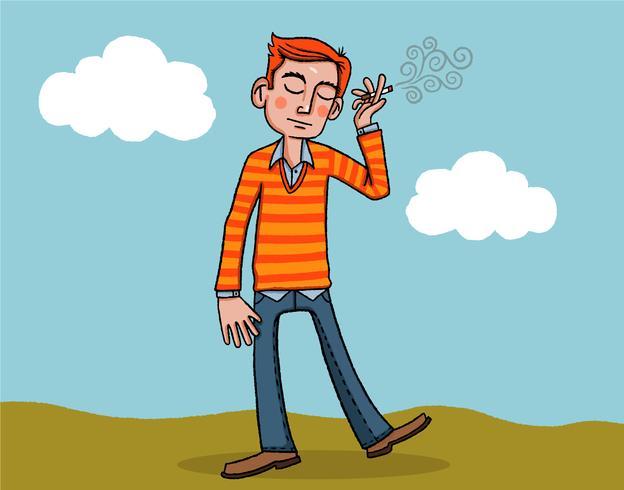 homem fumando vetor