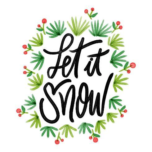 Folhas de Natal bonito com citação vetor
