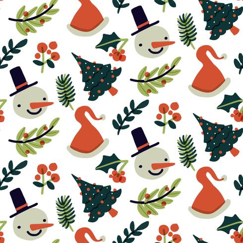 Padrão de Natal bonito com boneco de neve, árvore e folhas vetor