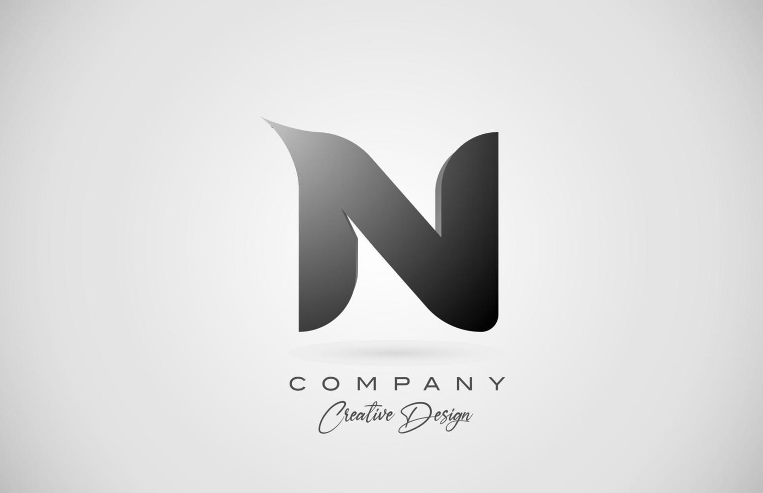 logotipo do ícone da letra n do alfabeto em gradiente preto. design criativo para negócios e empresa vetor