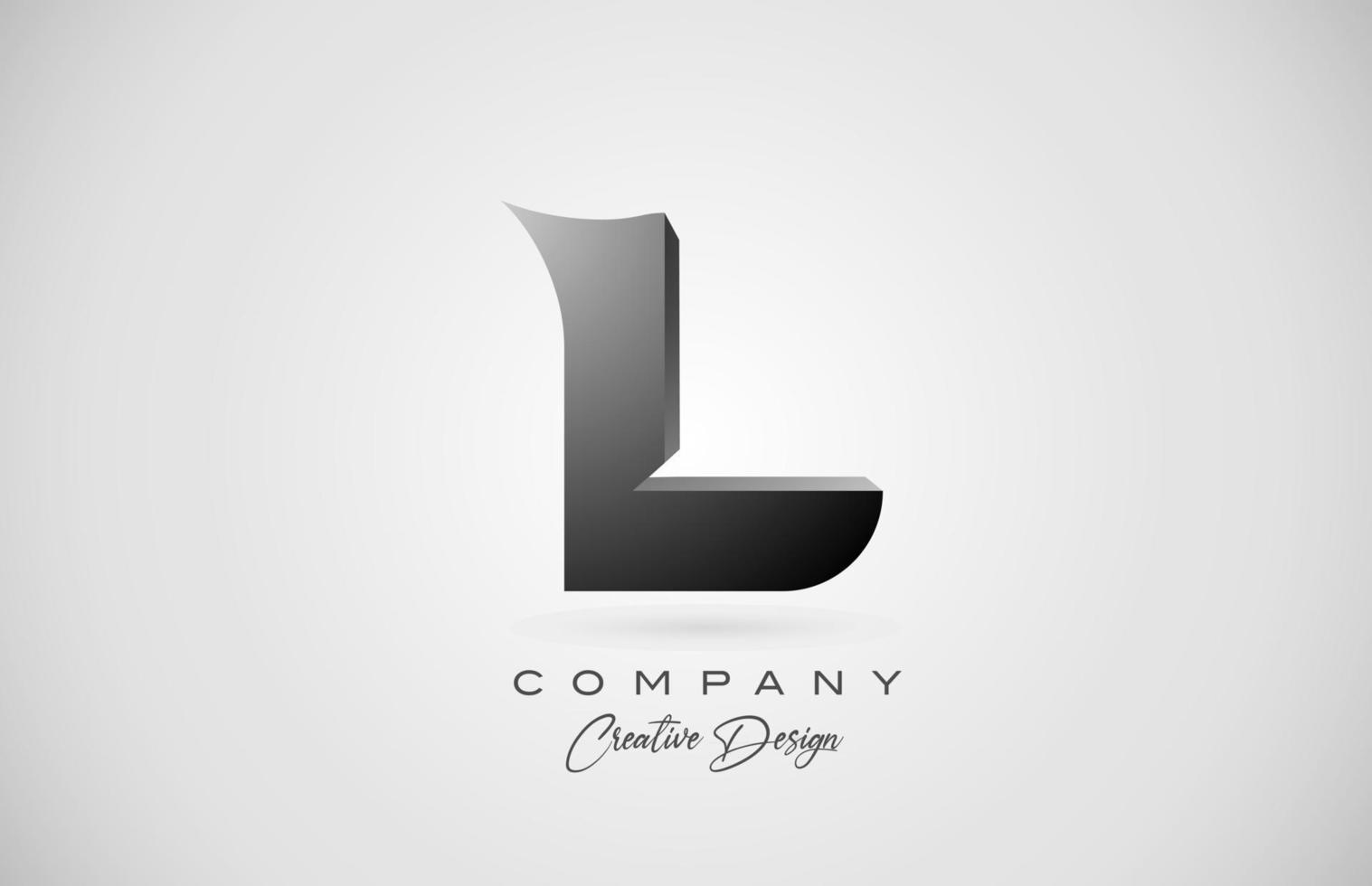 logotipo do ícone da letra l do alfabeto em gradiente preto. design criativo para negócios e empresa vetor