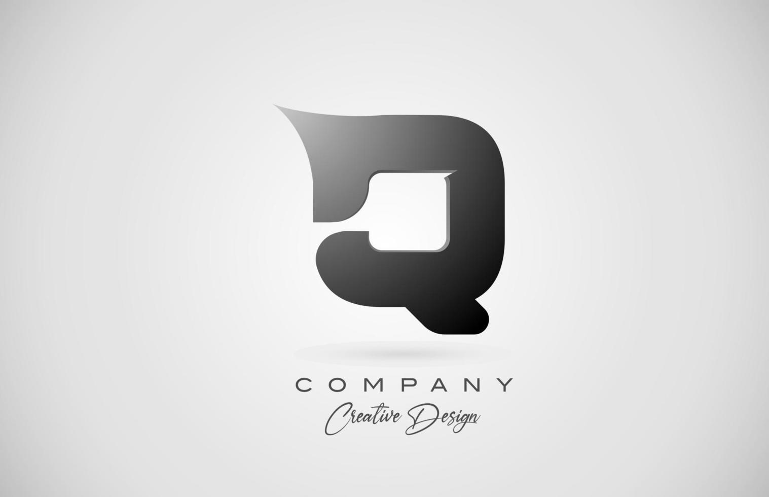 letra do alfabeto q ícone do logotipo em gradiente preto. design criativo para negócios e empresa vetor