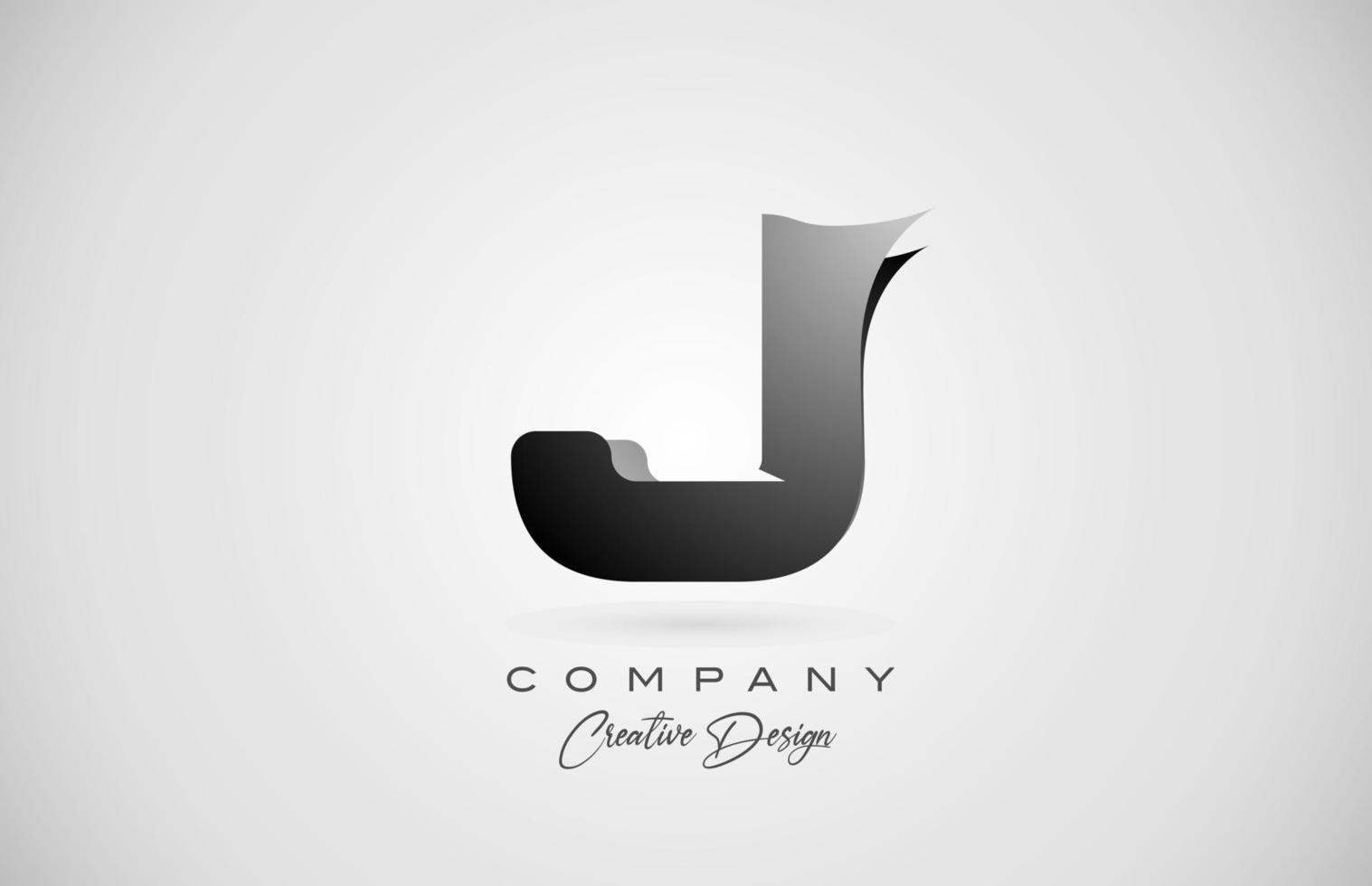 logotipo do ícone da letra j do alfabeto em gradiente preto. design criativo para negócios e empresa vetor