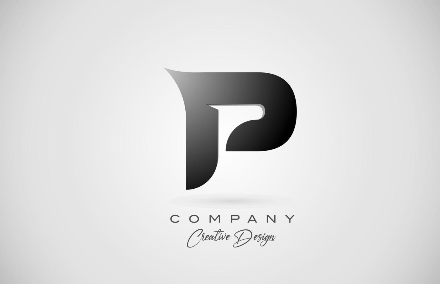 logotipo do ícone da letra p do alfabeto em gradiente preto. design criativo para negócios e empresa vetor