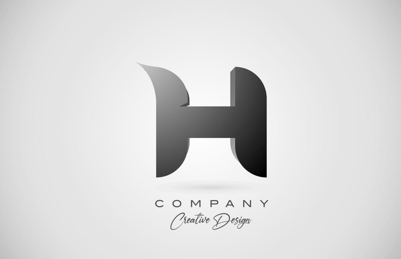 logotipo do ícone da letra h do alfabeto em gradiente preto. design criativo para negócios e empresa vetor