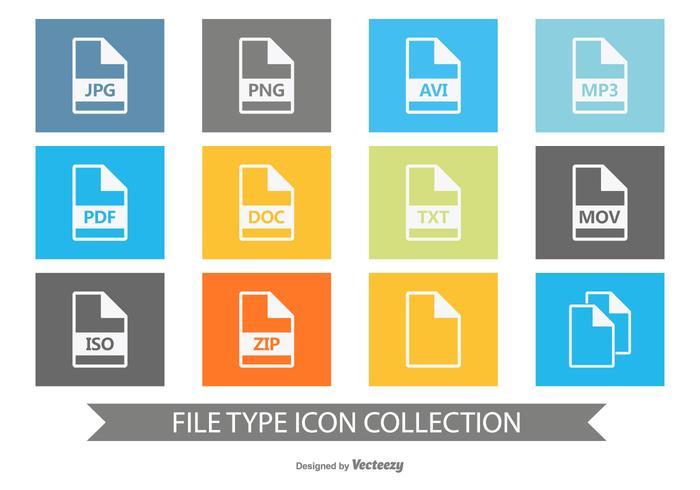 Coleção de ícone de tipo de arquivo vetor