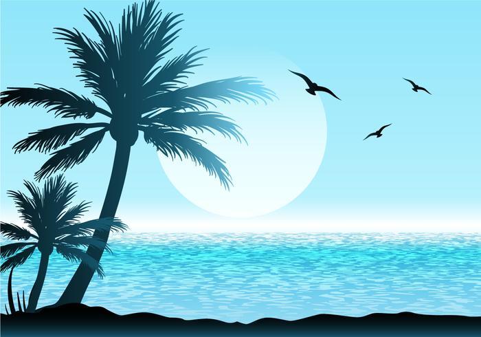 Ilustração linda cena tropical vetor