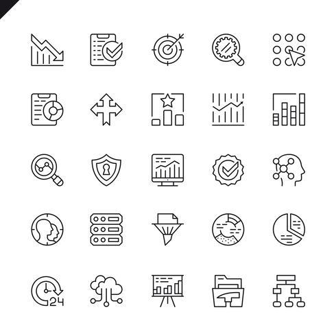 Análise de dados de linhas finas, estatísticas, ícones de análise definidos para sites e aplicativos e sites para dispositivos móveis. Design de ícones de contorno. 48x48 Pixel Perfeito. Pacote de pictograma linear. Ilustração vetorial. vetor