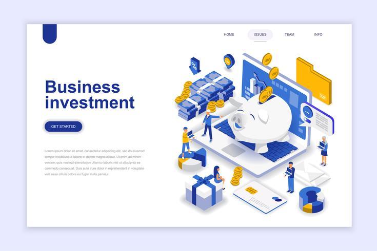 Conceito isométrico do design plano empresarial moderno de investimento. Conceito de dinheiro e pessoas. Modelo de página de destino. Ilustração isométrica conceptual do vetor para a Web e o projeto gráfico.