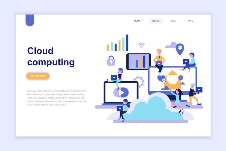 Modelo de página de aterrissagem do conceito de design plano moderno de computação em nuvem. Aprendizagem e conceito de pessoas. Ilustração em vetor plana conceitual para a página da web, site e site móvel.